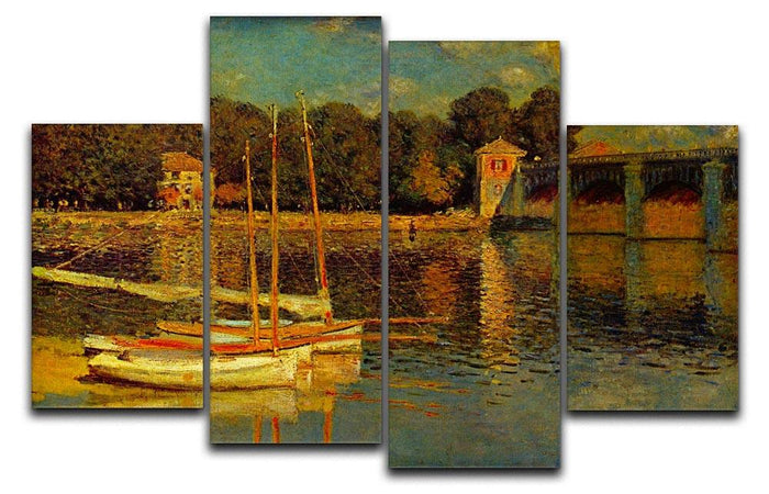 Bridge at Argenteuil by Monet 4 Split Panel Canvas