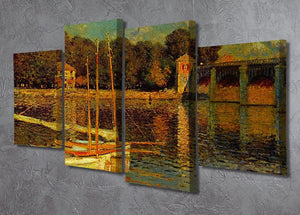 Bridge at Argenteuil by Monet 4 Split Panel Canvas - Canvas Art Rocks - 2