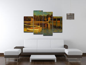 Bridge at Argenteuil by Monet 4 Split Panel Canvas - Canvas Art Rocks - 3