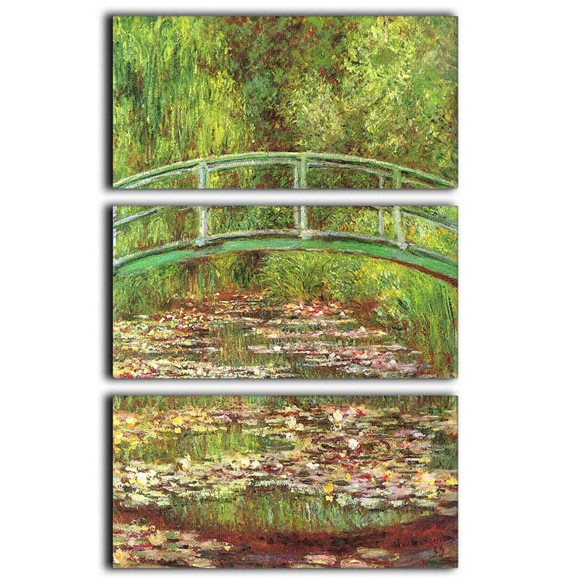 Bridge over the sea rose pond by Monet 3 Split Panel Canvas Print - Canvas Art Rocks - 1