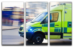 British ambulance in motion blur 3 Split Panel Canvas Print - Canvas Art Rocks - 1