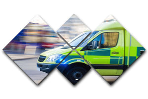 British ambulance in motion blur 4 Square Multi Panel Canvas  - Canvas Art Rocks - 1