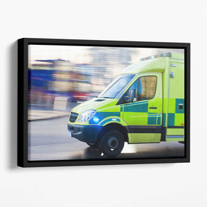 British ambulance in motion blur Floating Framed Canvas