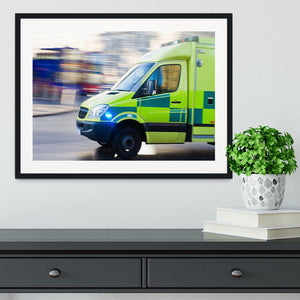 British ambulance in motion blur Framed Print - Canvas Art Rocks - 1