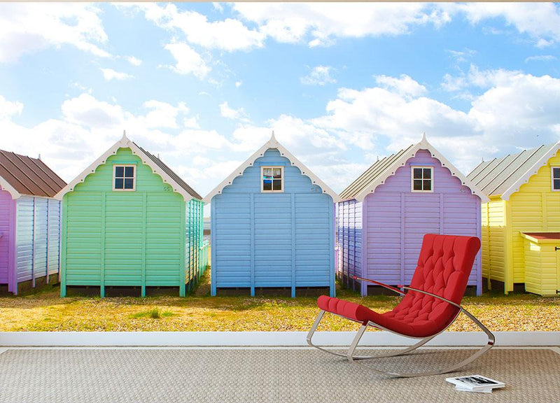 British beach huts on a bright sunny day Wall Mural Wallpaper - Canvas Art Rocks - 1