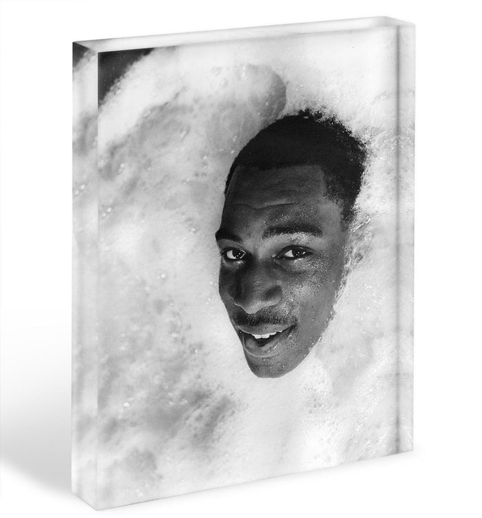 British boxer Frank Bruno in the Jacuzzi Acrylic Block