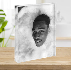 British boxer Frank Bruno in the Jacuzzi Acrylic Block - Canvas Art Rocks - 2