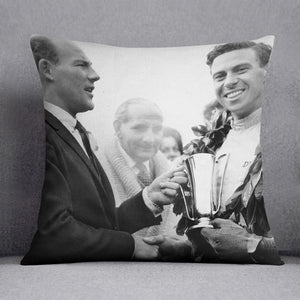 British racing drivers Jim Clark and Stirling Moss Cushion