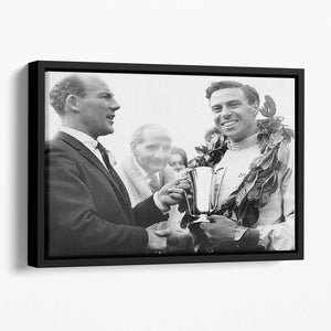 British racing drivers Jim Clark and Stirling Moss Floating Framed Canvas