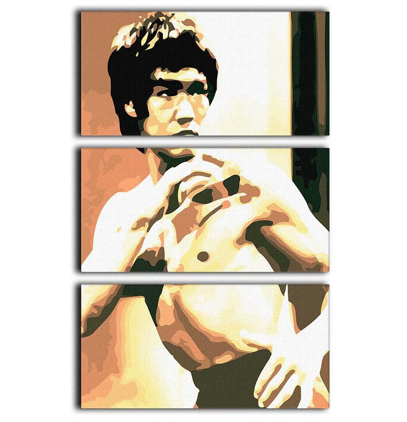 Bruce Lee Fight Stans 3 Split Panel Canvas Print - Canvas Art Rocks - 1