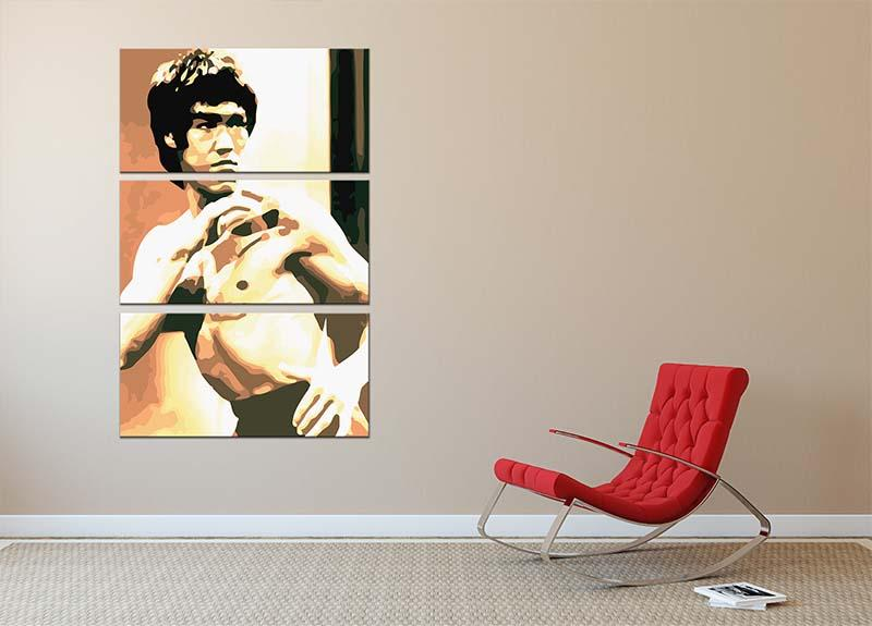 Bruce Lee Fight Stans 3 Split Panel Canvas Print - Canvas Art Rocks - 2