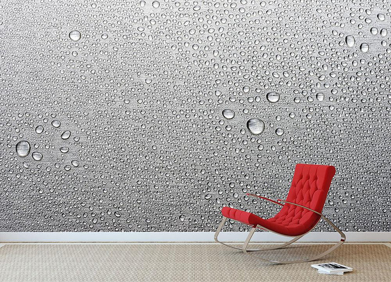 Brushed metal surface with water Wall Mural Wallpaper - Canvas Art Rocks - 2