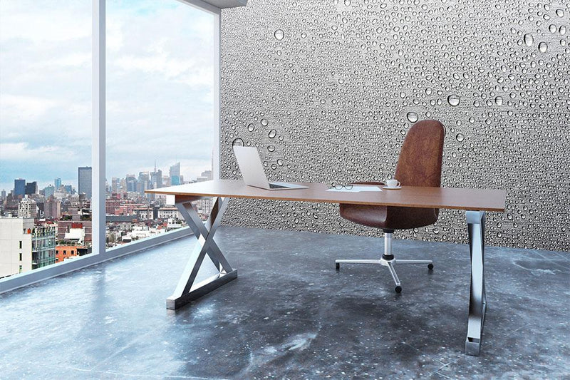 Brushed metal surface with water Wall Mural Wallpaper - Canvas Art Rocks - 3