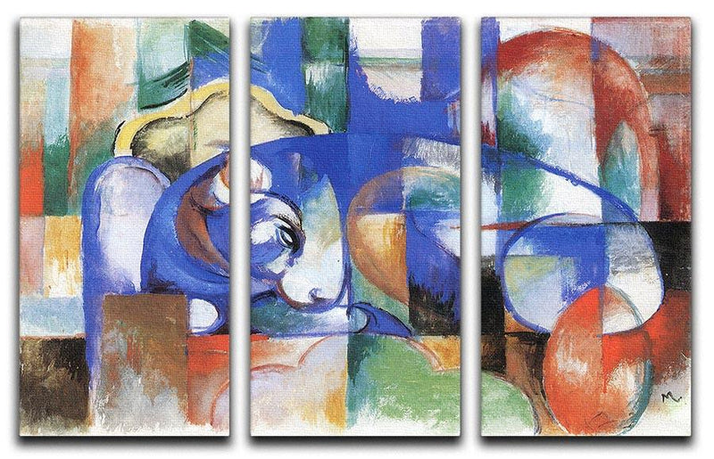 Bull by Franz Marc 3 Split Panel Canvas Print - Canvas Art Rocks - 1