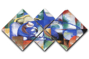 Bull by Franz Marc 4 Square Multi Panel Canvas  - Canvas Art Rocks - 1