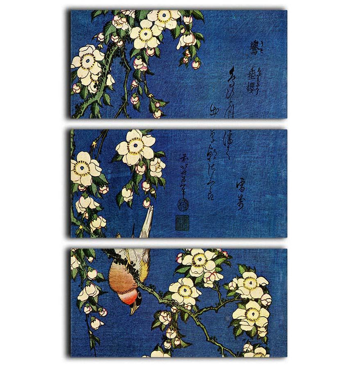 Bullfinch and drooping cherry by Hokusai 3 Split Panel Canvas Print