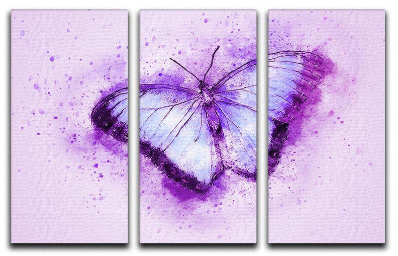 Butterfly Painting 3 Split Panel Canvas Print - Canvas Art Rocks - 1