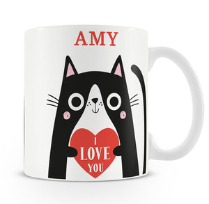 Personalised I Love You Cat Mug