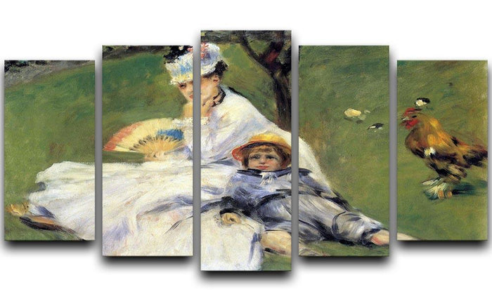 Camille Monet and her son Jean in the garden of Argenteuil by Renoir 5 Split Panel Canvas