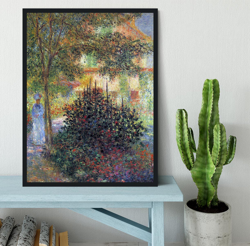 Camille in the garden of the house in Argenteuil by Monet Framed Print - Canvas Art Rocks - 2