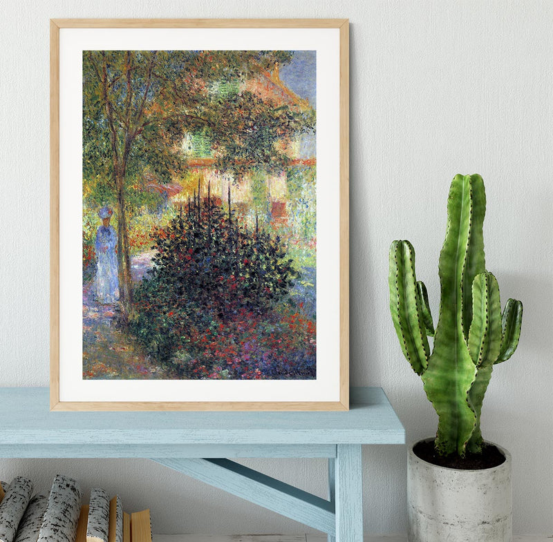 Camille in the garden of the house in Argenteuil by Monet Framed Print - Canvas Art Rocks - 3