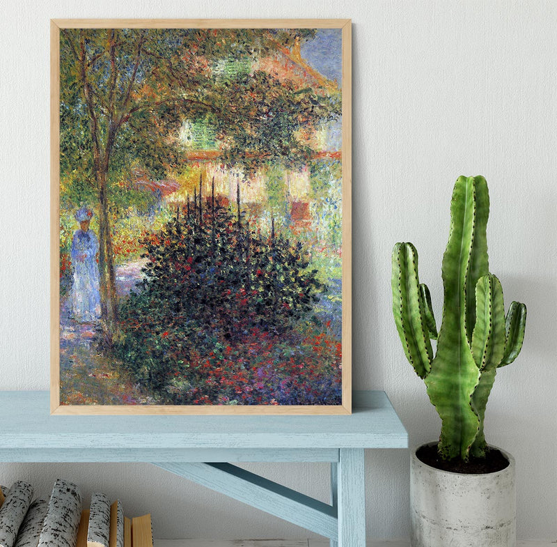 Camille in the garden of the house in Argenteuil by Monet Framed Print - Canvas Art Rocks - 4