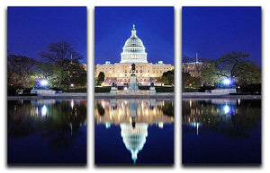Capitol Hill Building at dusk with lake reflection 3 Split Panel Canvas Print - Canvas Art Rocks - 1