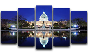 Capitol Hill Building at dusk with lake reflection 5 Split Panel Canvas  - Canvas Art Rocks - 1