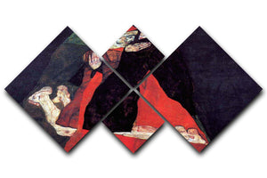 Cardinal and Nun or The caress by Egon Schiele 4 Square Multi Panel Canvas - Canvas Art Rocks - 1