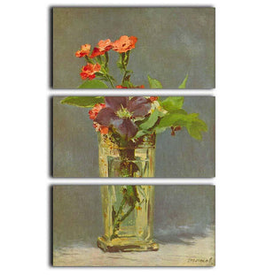 Carnations and Clematis in a Crystal Vase by Manet 3 Split Panel Canvas Print - Canvas Art Rocks - 1