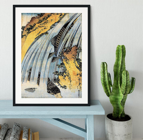 Carps ascending waterfall by Hokusai Framed Print - Canvas Art Rocks - 1