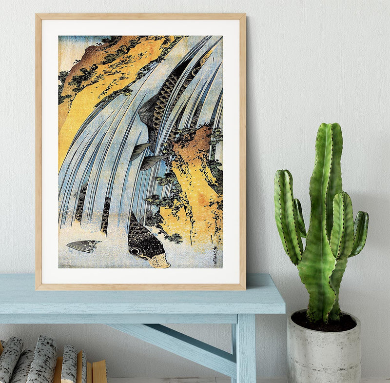 Carps ascending waterfall by Hokusai Framed Print - Canvas Art Rocks - 3