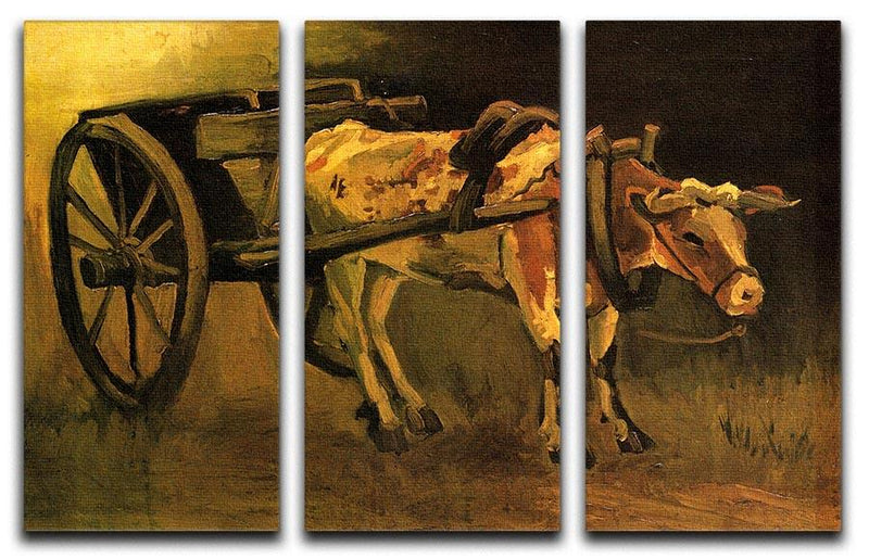 Cart with Red and White Ox by Van Gogh 3 Split Panel Canvas Print - Canvas Art Rocks - 4