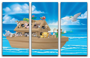 Cartoon childrens illustration of the Christian Bible story of Noah 3 Split Panel Canvas Print - Canvas Art Rocks - 1