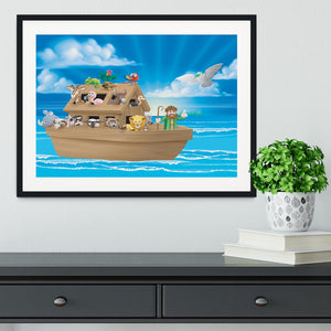Cartoon childrens illustration of the Christian Bible story of Noah Framed Print - Canvas Art Rocks - 1