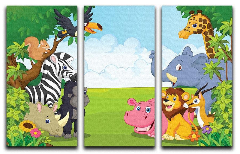 Cartoon collection animal in the jungle 3 Split Panel Canvas Print - Canvas Art Rocks - 1