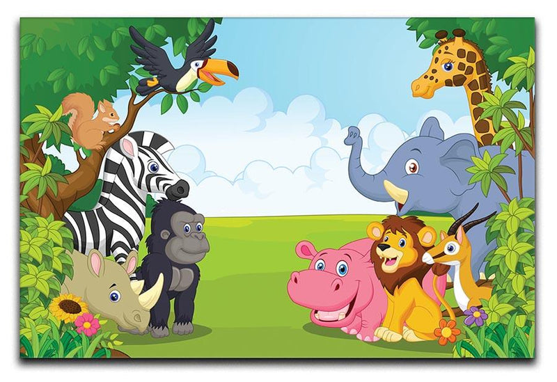 Cartoon collection animal in the jungle Canvas Print or Poster  - Canvas Art Rocks - 1