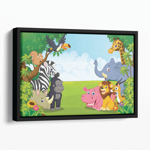 Cartoon collection animal in the jungle Floating Framed Canvas