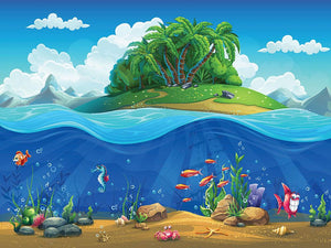Cartoon underwater world Wall Mural Wallpaper - Canvas Art Rocks - 1