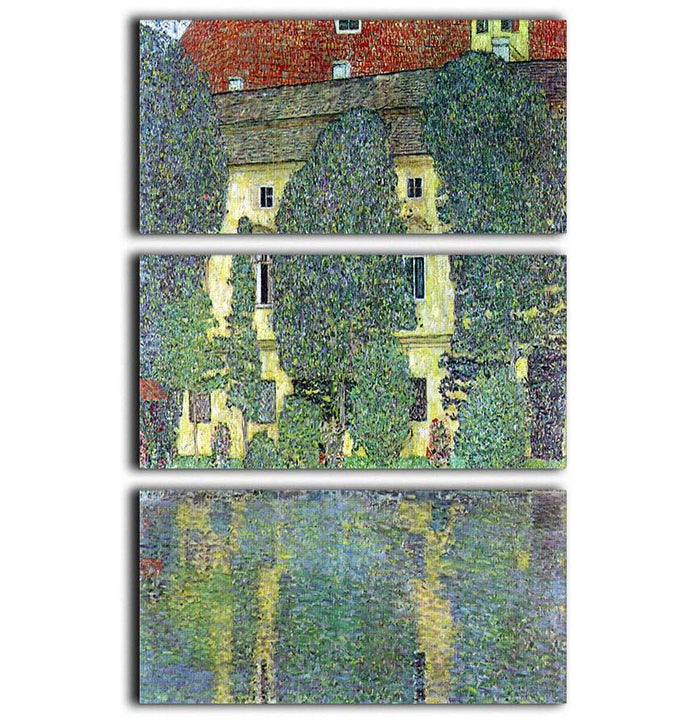Castle at the Attersee by Klimt 3 Split Panel Canvas Print