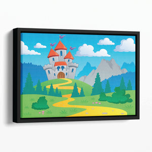 Castle theme landscap Floating Framed Canvas