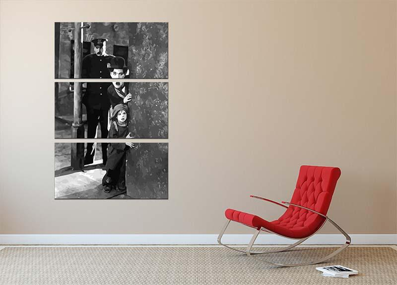 Charlie Chaplin The Kid 3 Split Panel Canvas Print - Canvas Art Rocks - 2