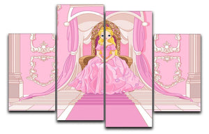 Charming Princess sits on a throne 4 Split Panel Canvas  - Canvas Art Rocks - 1