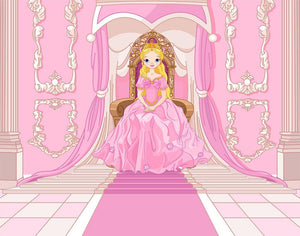 Charming Princess sits on a throne Wall Mural Wallpaper - Canvas Art Rocks - 1