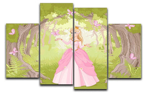Charming princess a fantastic wood 4 Split Panel Canvas  - Canvas Art Rocks - 1