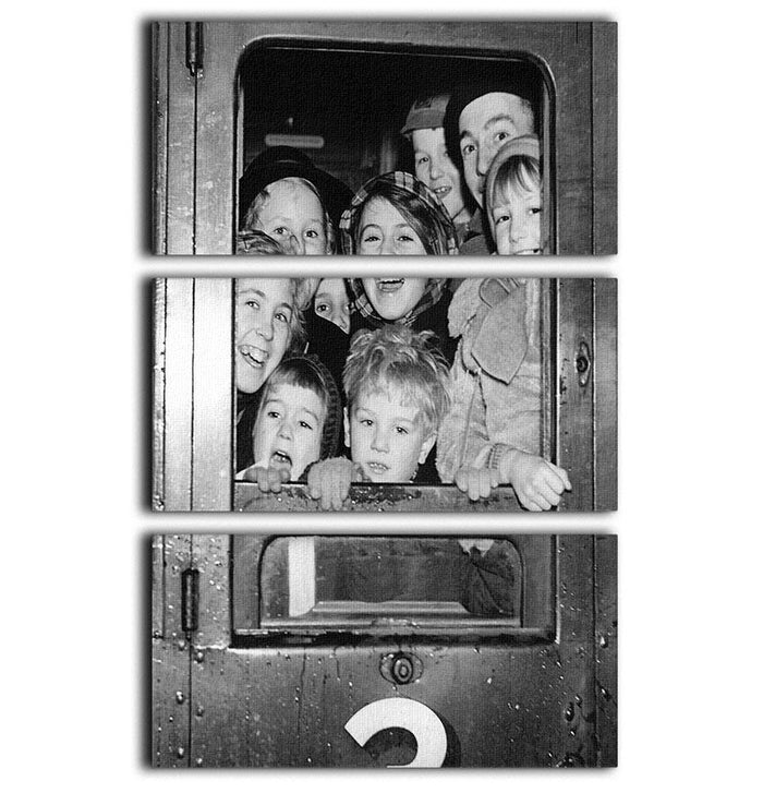 Cheerful train evacuees 3 Split Panel Canvas Print