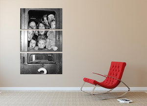 Cheerful train evacuees 3 Split Panel Canvas Print - Canvas Art Rocks - 2