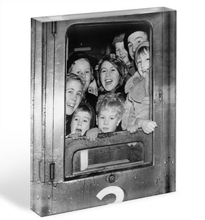 Cheerful train evacuees Acrylic Block - Canvas Art Rocks - 1