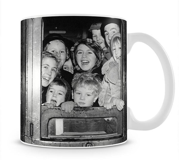 Cheerful train evacuees Mug