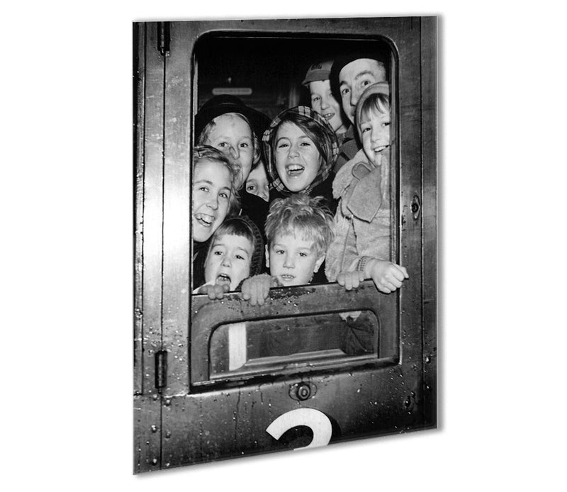Cheerful train evacuees Outdoor Metal Print - Canvas Art Rocks - 1